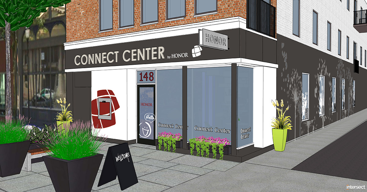 artist rendering of honor credit union's downtown Kalamazoo Connect Center