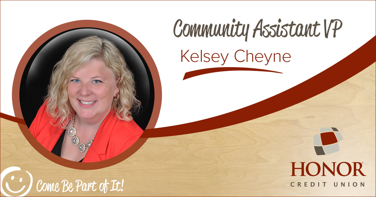 A headshot photo of Kelsey Cheyne with her new title at Honor - Community Assistant VP.