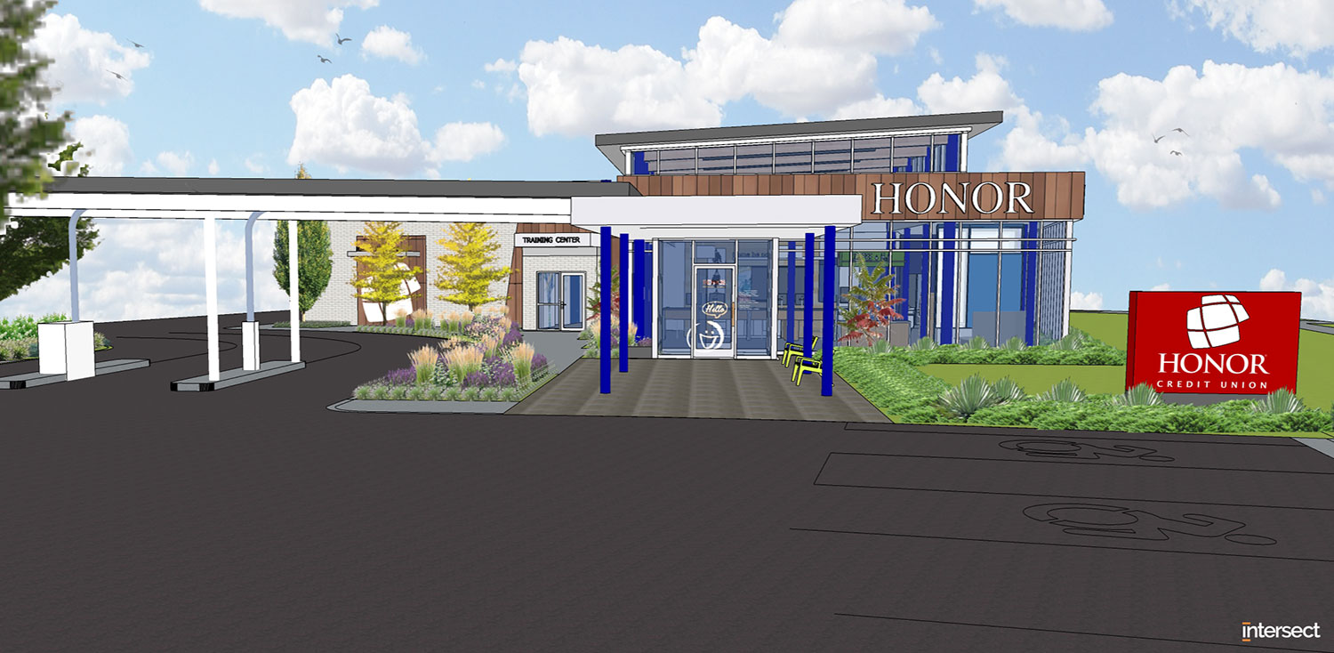 artist rendering of the exterior of the new honor credit union stadium drive member center