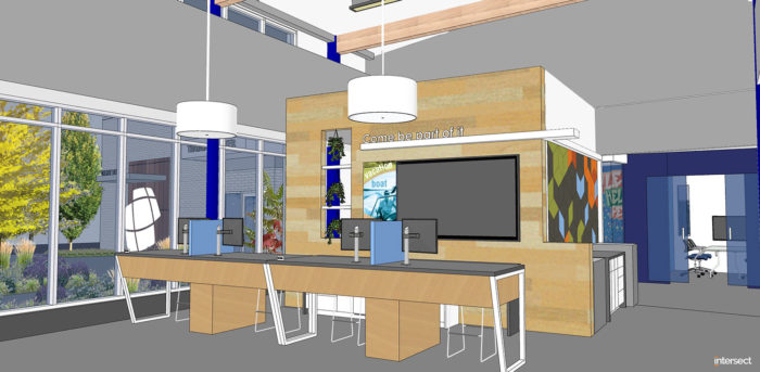 artist rendering of the interior of the new honor credit union stadium drive member center