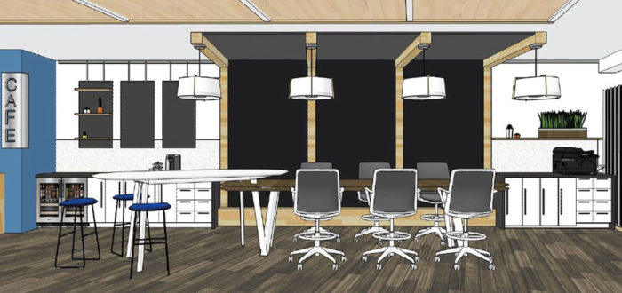 a rendering of the inside of honor credit union's downtown kalamazoo connect center, which will feature meeting and collaboration space
