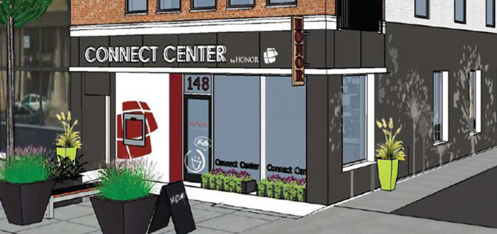 a rendering of the outside of honor credit union's downtown kalamazoo connect center location