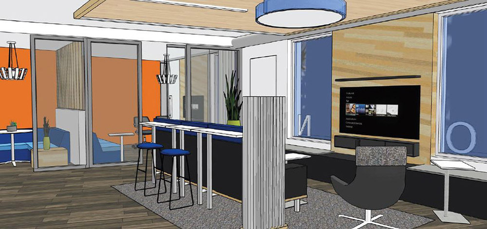 a rendering of the inside of honor credit union's downtown kalamazoo connect center, which will feature lounge and collaboration space