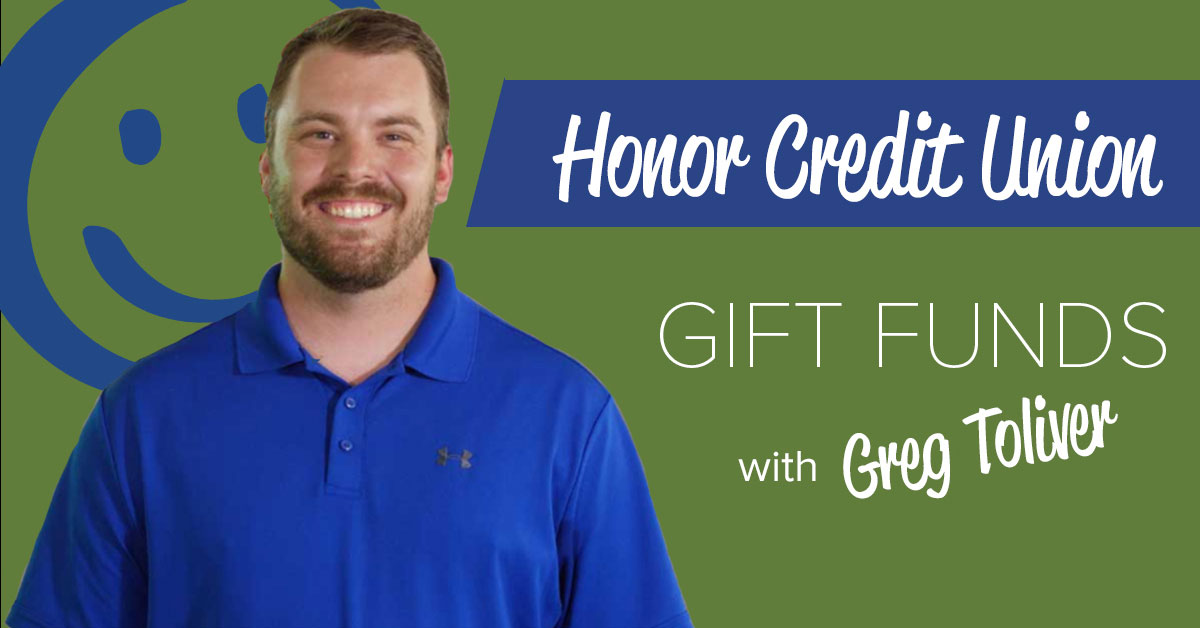 image featuring a green background with white text promoting a blog post about using gift funds to buy a house and a photo of honor mortgage lender greg toliver