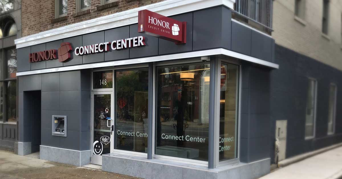 honor credit union's connect center in downtown kalamazoo is now open; photo of connect center exterior
