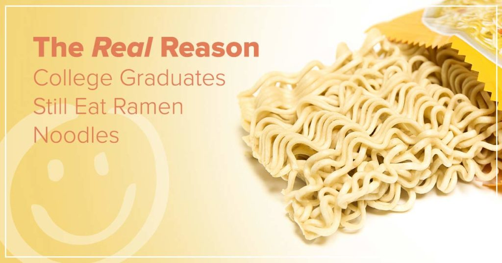 photo of ramen noodles on an orange background with text that says the real reason college students eat ramen noodles