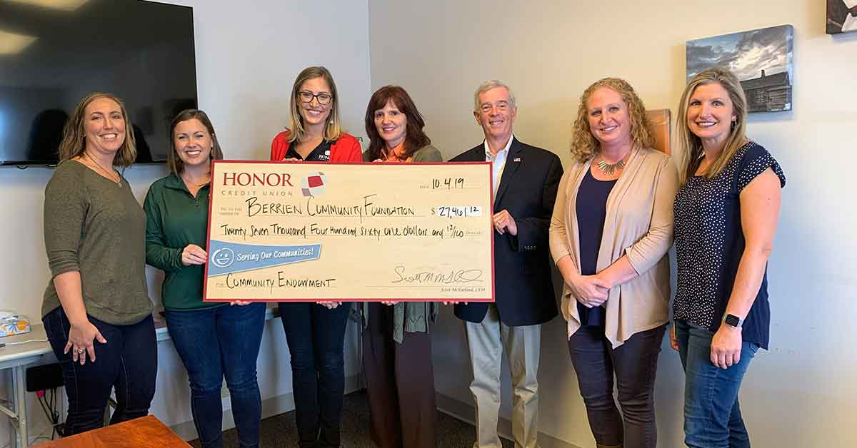 honor credit union donated its endowment fund as a gift to berrien community foundation