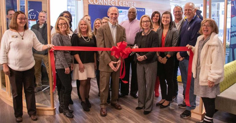 honor credit union celebrated the ribbon cutting and grand opening of the downtown Kalamazoo Connect Center on Friday, November 8, 2019; photo of Honor team members and board members with community leaders in the connect center