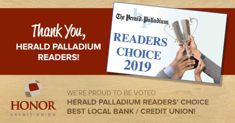 honor credit union was named best local bank or credit union by the herald palladium readers for 2019