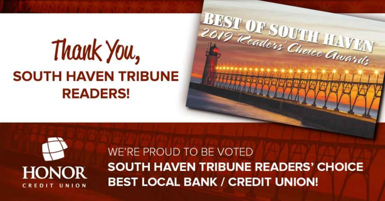honor credit union was voted best local bank or credit union in south haven for 2019
