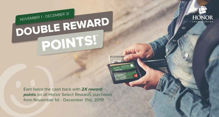 honor select rewards credit card earn double reward points through december 31, 2019