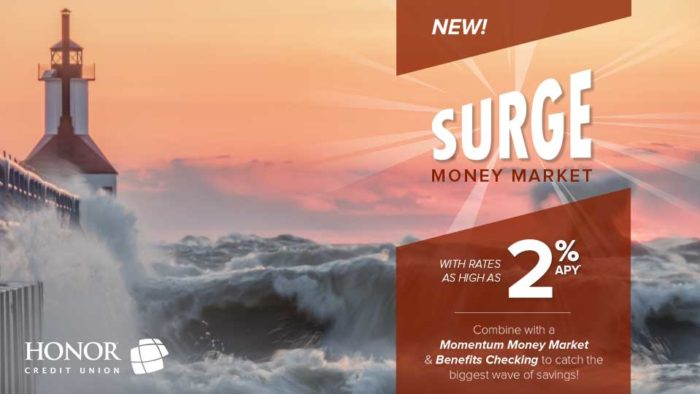 earn up to 2.00% APY with a surge money market at honor credit union