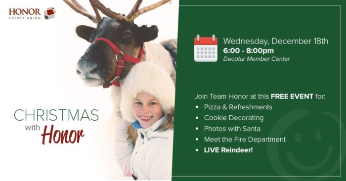 join honor credit union for a christmas event in decatur on december 18th; photo of a girl wearing winter clothes next to a reindeer