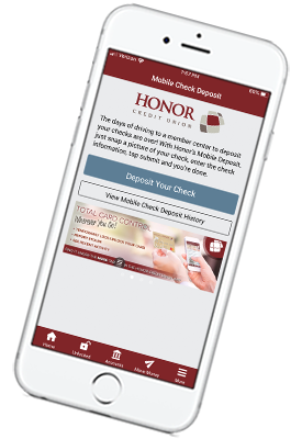 a smart phone with a screenshot of mobile check deposit within honor credit union's mobile app