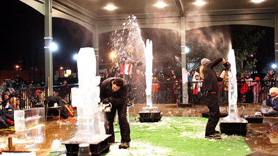 hunter ice festival in niles, michigan