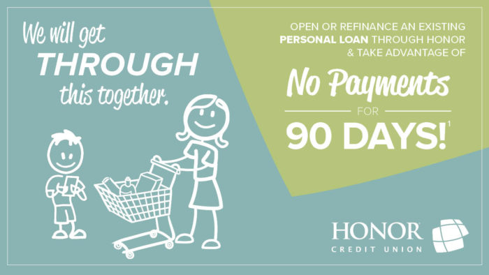 image of a stick figure parent and child with a shopping cart with text promoting a personal loan no payment for 90 days offer from honor credit union