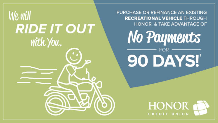 image of a stick figure person riding on a motorcycle with text promoting a special no payment offer from honor credit union