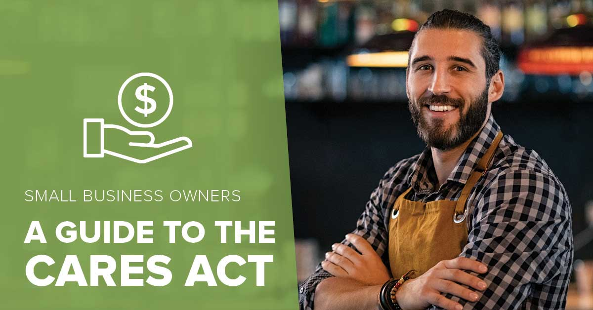 image of a business owner with his arms folded across his chest with text explaining honor credit union has a guide to the new CARES Act for small business owners