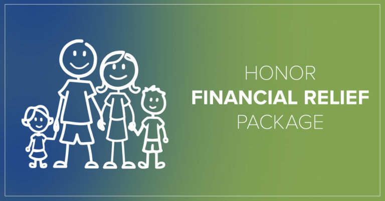 image of a stick figure family holding hands with text that reads honor financial relief package