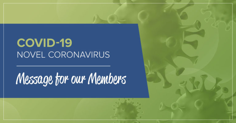 image of a microscopic germ with text that informs members about a message related to coronavirus