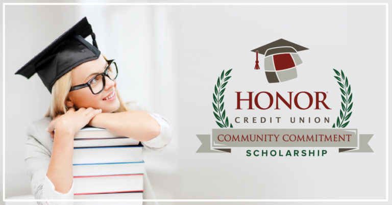 image of a high school graduate wearing a cap with text describing honor credit union's annual scholarship campaign