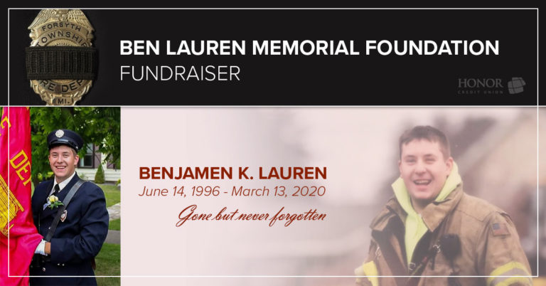 image with text describing ben lauren memorial foundation fundraising efforts with local auto dealerships