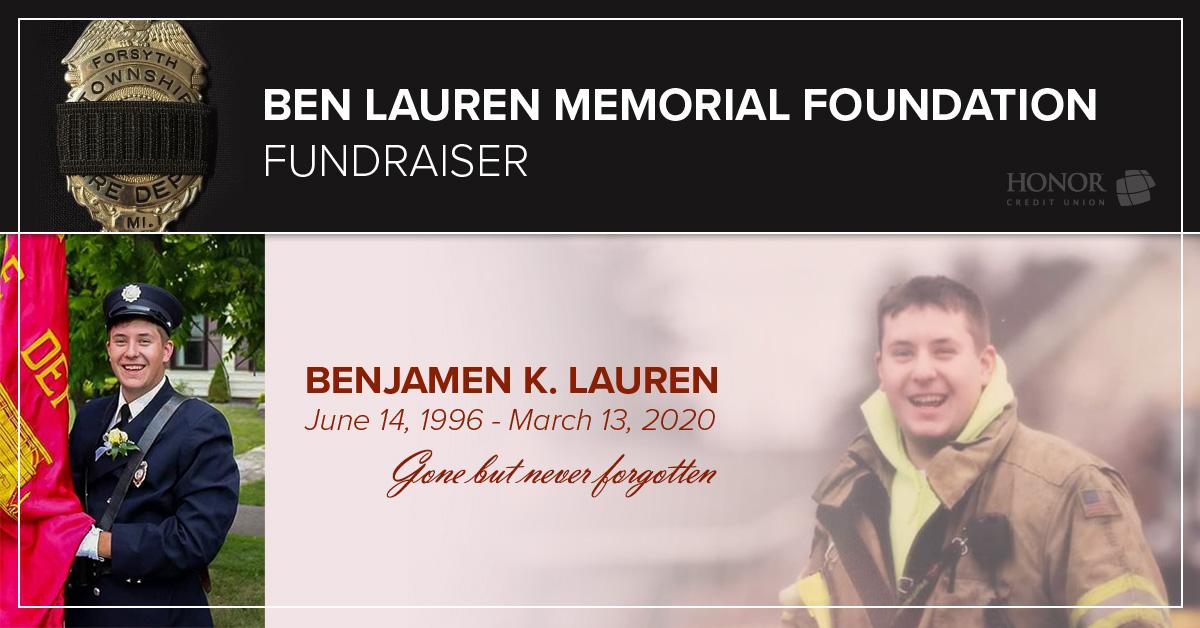 image with text describing ben lauren memorial foundation fundraising efforts with local auto dealerships