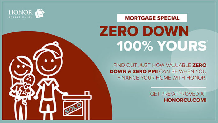 image of a stick figure family in front of a sold sign with text on the image explaining a zero down payment mortgage promotion from honor credit union