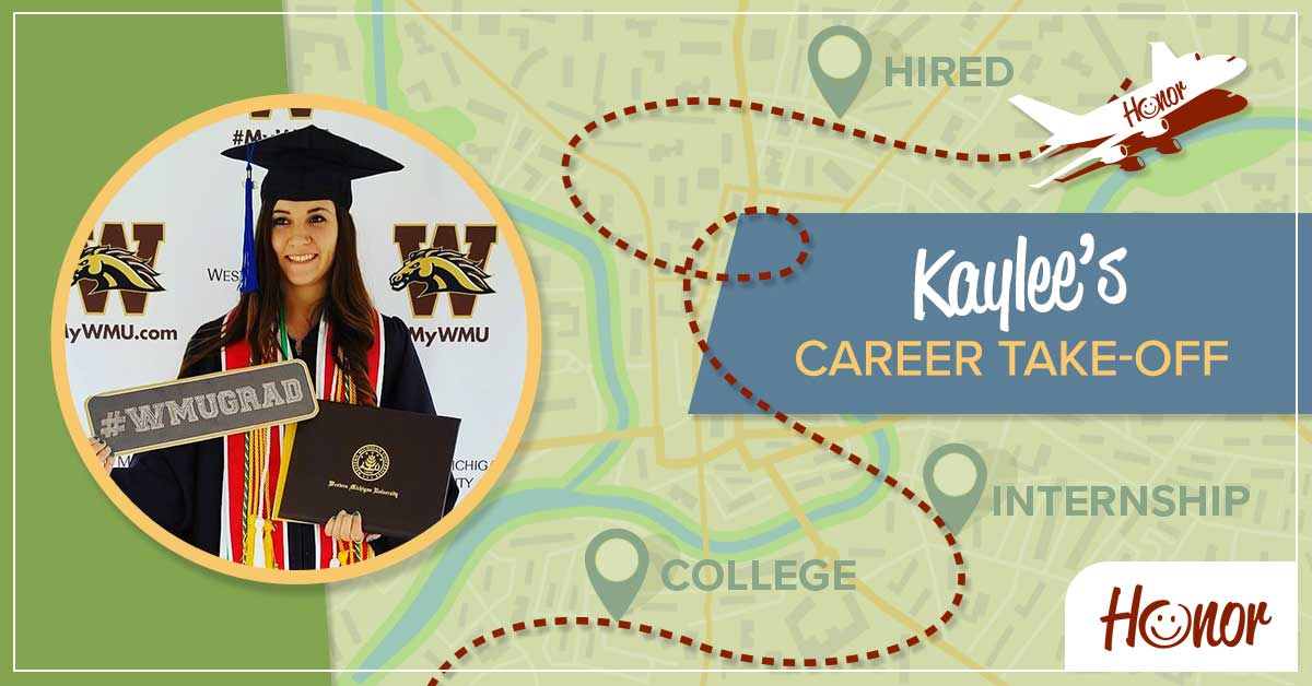 image of honor credit union team member kaylee ronn with text explaining her journey from intern to a full-time honor employee