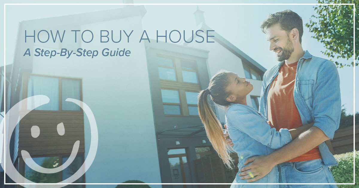 couple standing in front of a house they just bought with blog title text over image that reads how to buy a house: a step by step guide