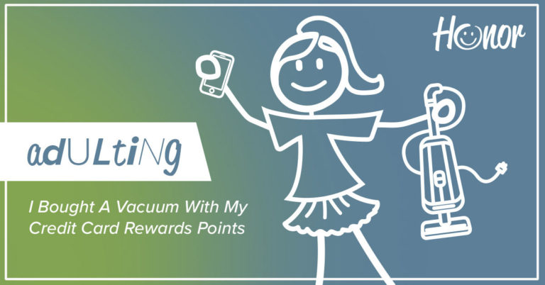 drawing of a stick figure person holding a vacuum cleaner with one hand and a mobile phone with the other hand with text on the image explaining how to redeem select rewards credit card points