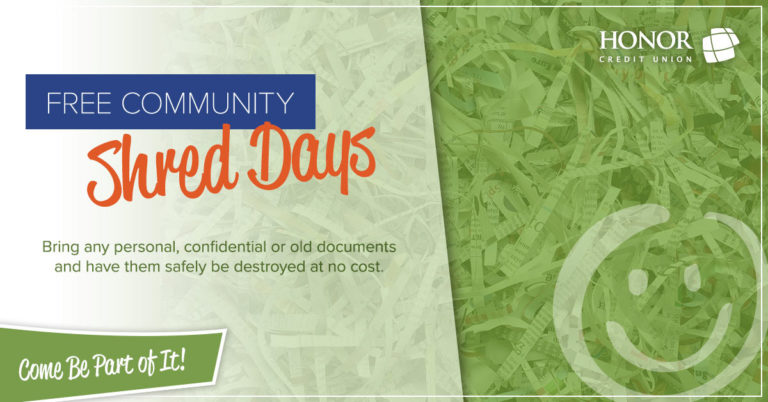 text information about honor credit union free shred day events