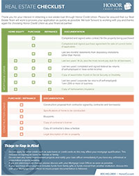 honor credit union mortgage checklist