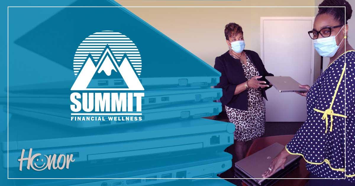 photo of barbara sistrunk from summit financial wellness donating laptops to Mosaic Christian Community Association