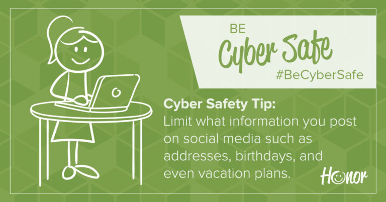stick figure drawing on a green background with text on background that describes a cybersecurity tip