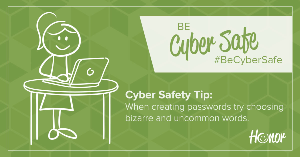 image of a stick figure woman standing at a desk working on a laptop with text on the image explaining a cybersecurity tip