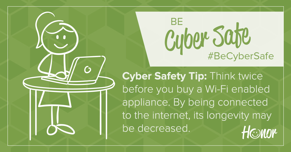 image of a stick figure person standing at a desk looking at a computer screen with text on green background describing a cyber security tip