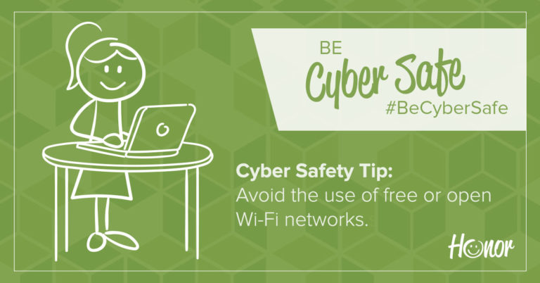 image of a stick figure woman standing at a table working on a laptop with text on image promoting cybersecurity tips