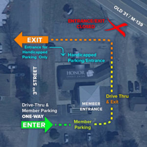 map of the berrien springs member center with arrows showing temporary entrance and exit locations
