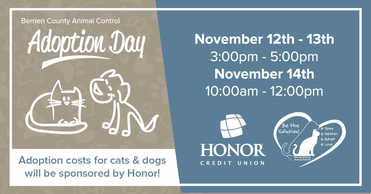 image with gray and blue background with text on the image with details about berrien county animal control adoption days being held november 12th through november 14th