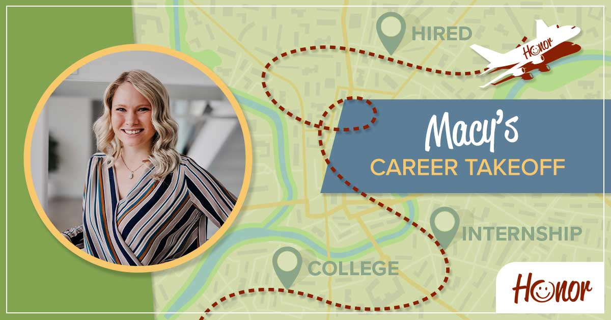 photo of honor credit union team member macy o'dell on a map background with text promoting a career takeoff blog