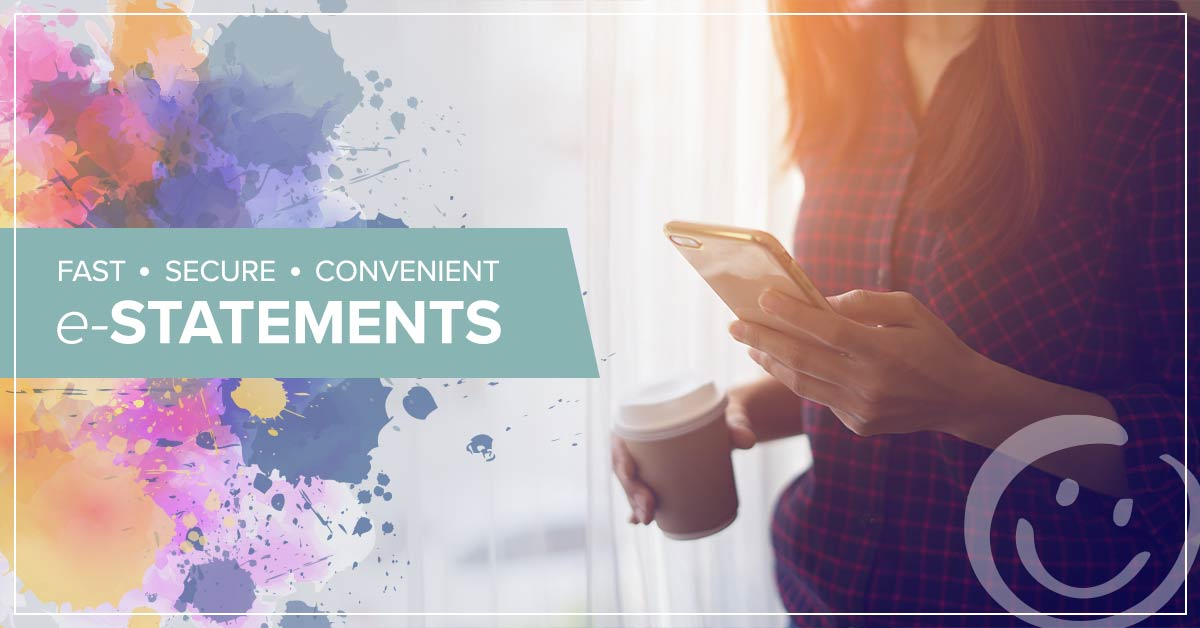 image of a woman holding a cell phone with text on the background of the image promoting fast, secure, convenient e-Statements from honor credit union