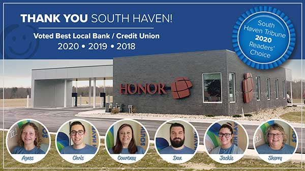 image promoting the honor credit union south haven member center being names best bank or credit union for the third year in a row