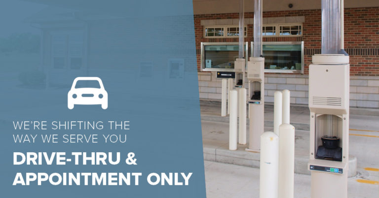 image of a financial institution credit union drive-thru with text on the image that reads we're shifting the way we serve you drive-thru and appointment only