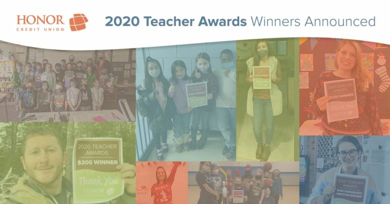 image featuring several 2020 honor credit union teacher award winners in a collage with text on the image that reads 2020 Teacher Awards Winners Announced