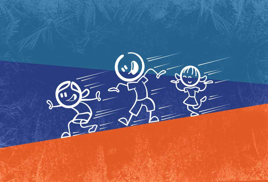 image of three stick figures sliding down a hill on a blue and orange background