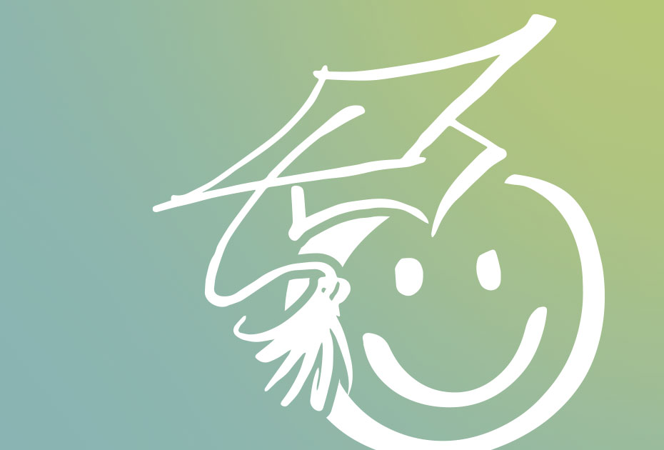 image of a white smiley face wearing a graduation cap against a teal background