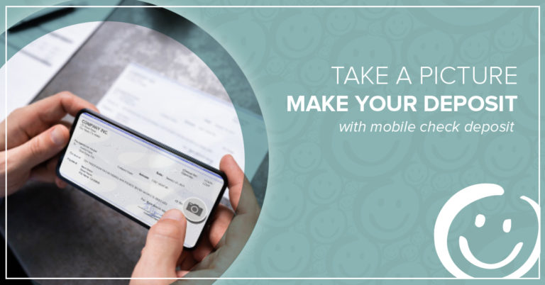 image of a person taking a picture of the front of a check with a smartphone and using mobile check deposit in the honor credit union mobile app