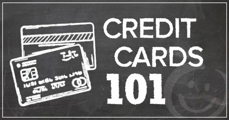 image with a chalkboard background with two credit cards drawn in chalk and text that reads credit cards 101
