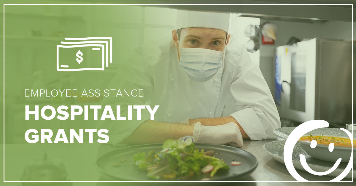 image of a cook leaning over a counter next to a plate full of food; text overlay on image that reads Employee Assistance Hospitality Grants